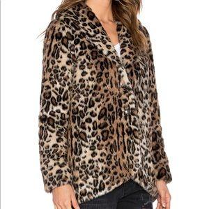 Amuse Society faux fur jacket in leopard